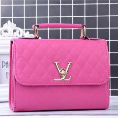 MOGO ladies quality PU leather handbag solid shoulder bag lady messenger wallet and handbag B012 Pink one size