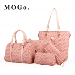 New 5 PC/Set Women Handbag Casual Female  Brand Shoulder Bag Purse Leather Crossbody B003 Pink one size