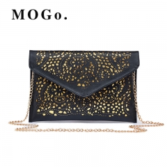 Hollow Out Envelope Bag Women Leather bag For girl Shoulder Messenger bag Clutch Handbag Purses B016 black one size