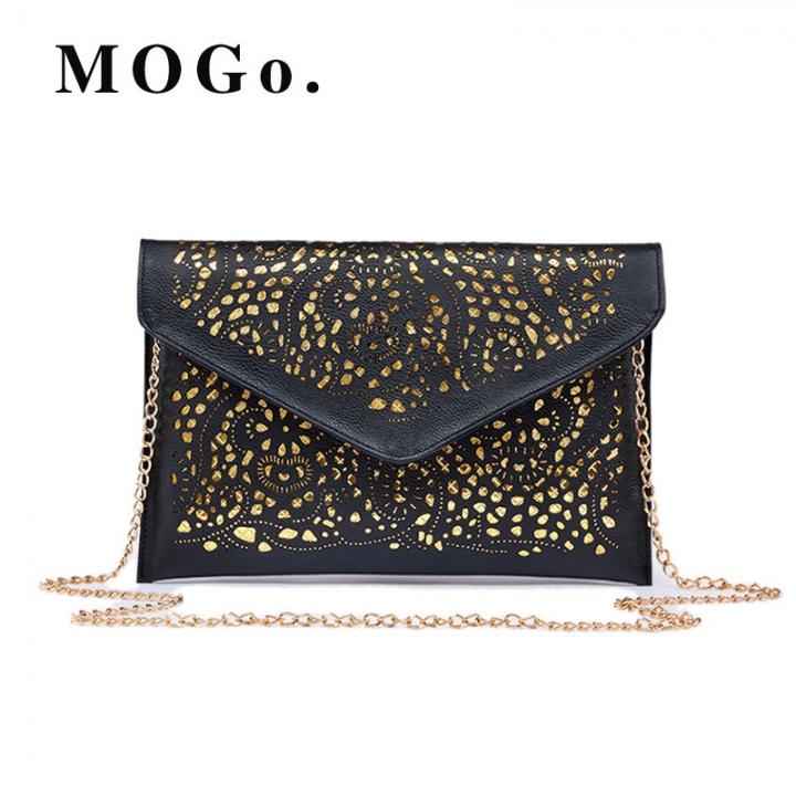 Hollow Out Envelope Bag Women Leather bag For girl Shoulder Messenger bag Clutch Handbag Purses B016 black one size