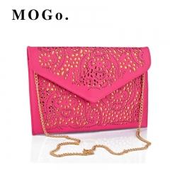Hollow Out Envelope Bag Women Leather bag For girl Shoulder Messenger bag Clutch Handbag Purses B016 Pink one size