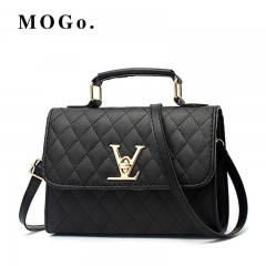MOGO ladies quality PU leather handbag solid shoulder bag lady messenger wallet and handbag B012 Black one size