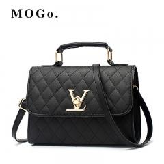 MOGO ladies quality PU leather handbag solid shoulder bag lady messenger wallet and handbag B012 Black one size