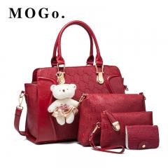 2018 NEW Luxury Women Bag 4 Pieces Set Bear Fashion Women's Handbags PU Leather  Ladies B018 Red 32*12*19