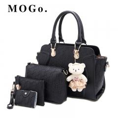 2018 NEW Luxury Women Bag 4 Pieces Set Bear Fashion Women's Handbags PU Leather  Ladies B018 Black 32*12*19