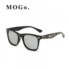 Men Sunglasses Cool Mirrors Square UV400 Dazzling Color Sunglasses Shark Toad Sunglasses Silver one size