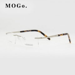 Titanium Glasses Frame Men Rimless glasses high quality fold optical myopia Eyeglasses women W002 Silver 2