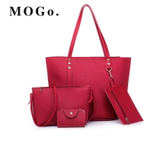 MOGO Women handbag 4pcs Sets PU Leather Big Size Top-handle Bags Casual Totes Lady Shoulder B021 Red one size