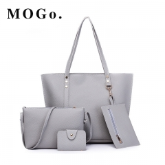 MOGO Women handbag 4pcs Sets PU Leather Big Size Top-handle Bags Casual Totes Lady Shoulder B021 Gray one size