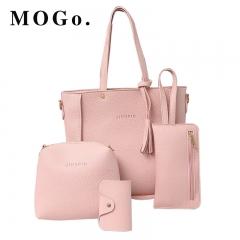 4pcs handbags Women PU Leather Shoulder Crossbody Fashion Clutch Bag Purse Set B023 pink one size