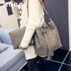 Women Top-handle Bags 2 PC Set Shoulder Strap Handbag PU Leather Girls Crossbody Casual Bag B037 Gray one size