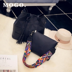 Women Top-handle Bags 2 PC Set Shoulder Strap Handbag PU Leather Girls Crossbody Casual Bag B037 black one size