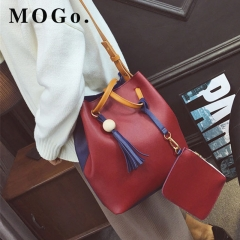 MOGO 2pcs/Set Fashion Women Composite Bag Tassel Pure PU Shoulder Bag Women Clutch Handbag B025 red one size