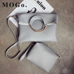 MOGO 2ps/set Women's Casual Leather Handbag Shoulder Bag Ladies Messenger Composite Bag Clutch B031 gray one size