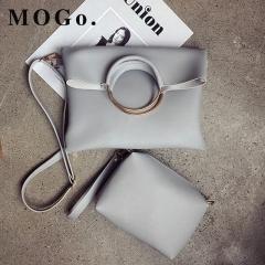 MOGO 2ps/set Women's Casual Leather Handbag Shoulder Bag Ladies Messenger Composite Bag Clutch B031 gray one size