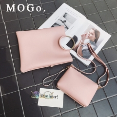 MOGO 2ps/set Women's Casual Leather Handbag Shoulder Bag Ladies Messenger Composite Bag Clutch B031 pink one size