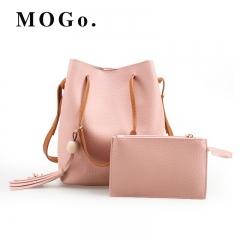 MOGO 2pc /set Women Leather Handbag Shoulder Bag Set Fashion Messenger Satchel Clutch Ladies B022 pink one size