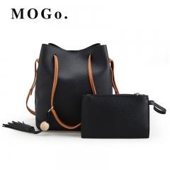 MOGO 2pc /set Women Leather Handbag Shoulder Bag Set Fashion Messenger Satchel Clutch Ladies B022 black one size