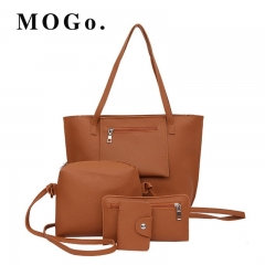 MOGO 4PCS/set Women  Handbags Sets Ladies PU Leather Shoulder Bags Female Messenger Bags B039 brown one size