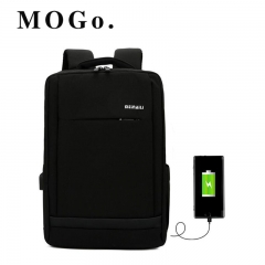 MOGO Multifunction USB Backpacks  Men 16inch Laptop Fashion Male Leisure Travel bag MG003 Black 16inch