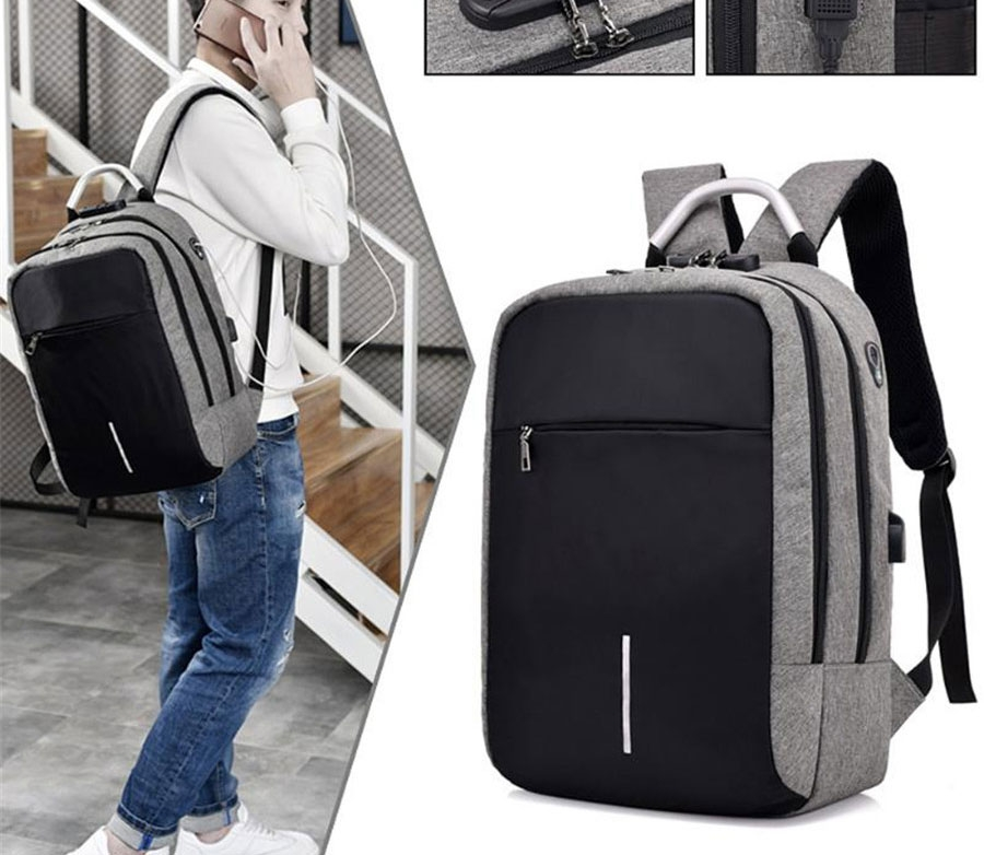 MOGO Laptop Backpack External USB Charge Computer Backpacks Anti-theft Bags For Men Women Bags MG005 Gray 15inch 2