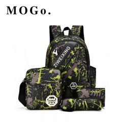 MOGO 4 PC/Set Men and women Backpacks Casual Travel Backpack Teenagers Women  Laptop Bags MG007 Green 15inch
