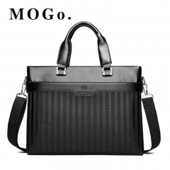 MOGO  Briefcase Pu Leather Business Men Bag Casual Tote Bags Computer Laptop Shoulder Bags MG013 black 14inch