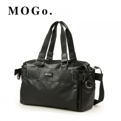 MOGO Men PU Travel bag fashion Large capacity shoulder handbag  Messenger  Casual Crossbody MG011 Black one size