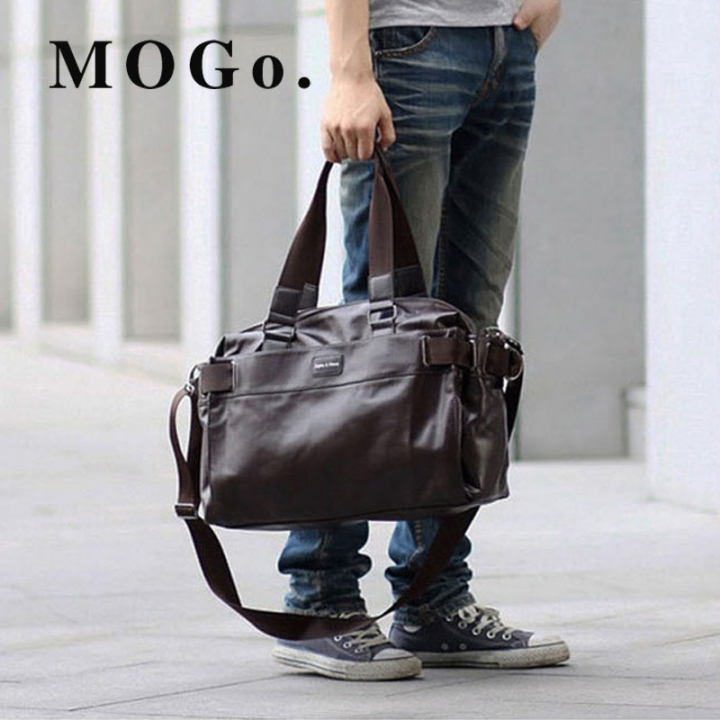 MOGO Men PU Travel bag fashion Large capacity shoulder handbag  Messenger  Casual Crossbody MG011 Brown one size