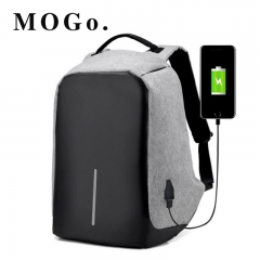 MOGO Laptop Backpack USB Charging Anti Theft Men Travel Backpack Waterproof School Bag MG001 GRAY 15inch