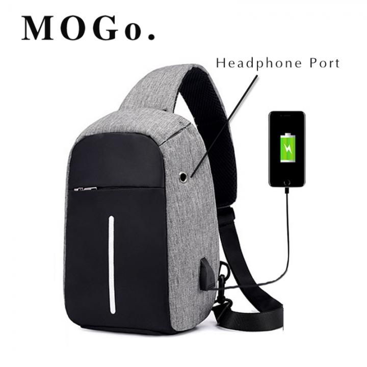 MOGO Men's USB Charging Shoulder Crossbody Bag Men Business Chest pack  Anti-theft Backpack MG008 Gray one size