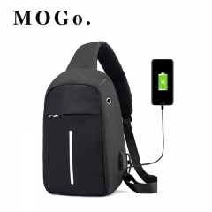 MOGO Men's USB Charging Shoulder Crossbody Bag Men Business Chest pack  Anti-theft Backpack MG008 black one size