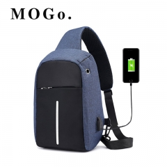 MOGO Men's USB Charging Shoulder Crossbody Bag Men Business Chest pack  Anti-theft Backpack MG008 blue one size