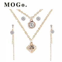 MOGO Letter Pendant Necklace Earrings For Women Jewelry Sets Fashion  Gold Color Choker NK001 gold as picture