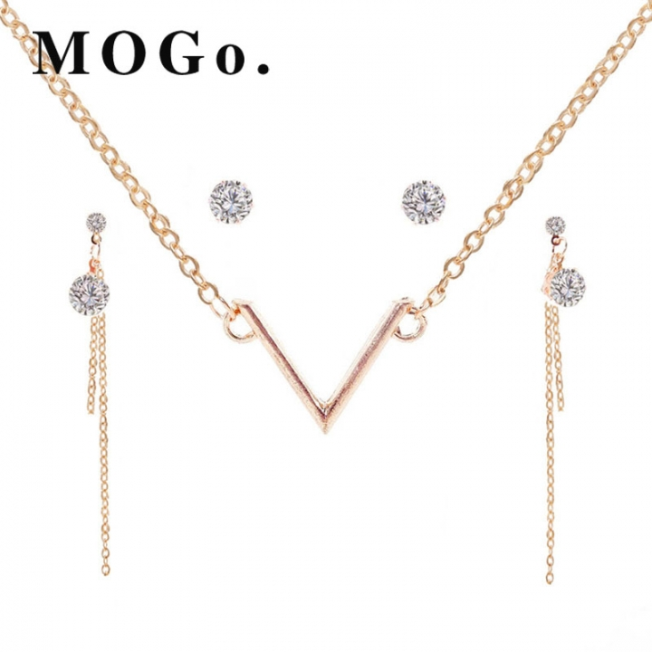 MOGO New African Beads Jewelry Sets Fashion Set Lifting Earrings Necklace Jewelry Sets NK002 gold as picture