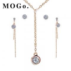 MOGO New Beads Jewelry Sets Fashion Set Lifting Earrings Necklace Jewelry Sets NK003 gold as picture