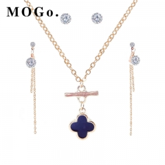 MOGO New Beads Jewelry Sets Fashion Set Lifting Earrings Necklace Jewelry Sets NK004 gold as picture
