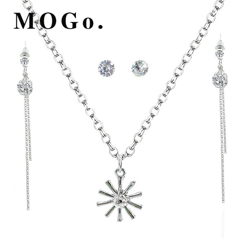 e7052aaf3 MOGO Fashion Silver Jewelry Sets Pendant & Necklaces Drop Earrings ...