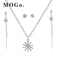 MOGO Fashion Silver Jewelry Sets Pendant & Necklaces Drop Earrings For Women Sets NK005 SILVER as picture
