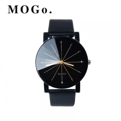 MOGO Fashion 2018 Unisex Watches Women Men Casual Leather Quartz Wrist Watch Clock  WC001 men watch Black