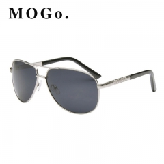 MOGO New Men's Polarized Sunglasses Metal Alloy Driving Glasses UV400  Male Pilot Style S011 Silver one size