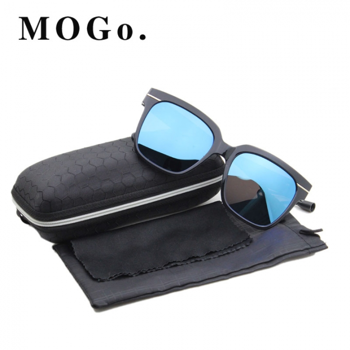 MOGO Cool Sunglasses Men Driver Shades Male Fashion Sun Glasses For Men Spuare Mirror  UV400 S012 BLUE one size