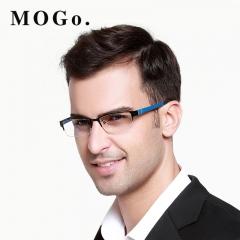 MOGO Eyeglasses Frame Men Ultralight Square Myopia Eyewear 2018 Male Metal Full Optical Frame G009 blue