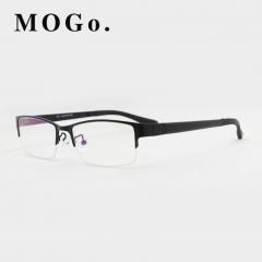 MOGO Eyeglasses Frame Men Ultralight Square Myopia Eyewear 2018 Male Metal Full Optical Frame G009 black