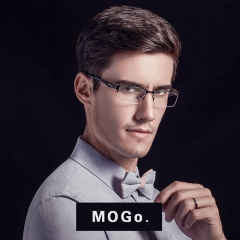 MOGO Glasses Frame Men Eyewear Computer Optical Clear glasses metal male Spectacle G011 black