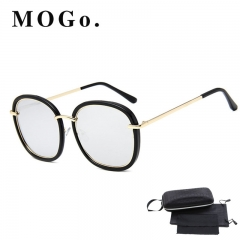 MOGO Vintage Square Sunglasses Women Men Shades Retro Sun Glasses Female Male S013 silver one size