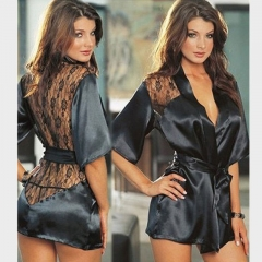 1PCS Sexy Lingerie Plus Size Satin Lace Black Kimono Intimate Sleepwear Women Sexy Underwear SL001 m Black