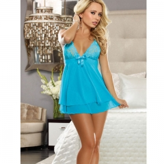 Lace Lingerie Sexy Erotic Hot Women Babydoll Chemise Night Dress Underwear Costume SL009 blue one size