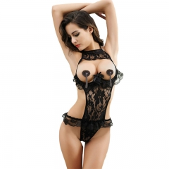 Sexy Lingerie Lace Floral Transparent Sleepwear Pajamas Women Sexy Exposed Cleavage Underwear SL010 black l