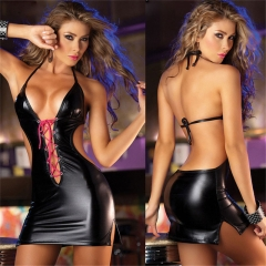 Sexy Erotic Lingerie Hot Women's Underwear PU Leather Mini Dress  Pole Dancing Costumes SL013 one size black